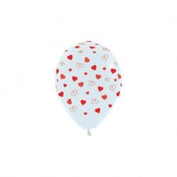 Шар (5'/13 см) Сердечки, Белый (005), пастель, 5 ст, 100 шт.