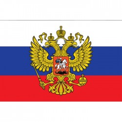Флаг Россия с гербом 14х20см