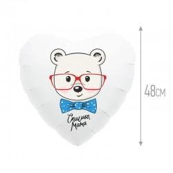 Шар Сердце Медведь - спасибо мама 48см