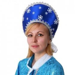 Кокошник синий блестящий со снежинками 1799527