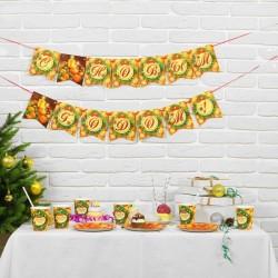 Набор посуды Новогодние Мандарины: 6 тарелок, 6 станов, 1 гирдянда