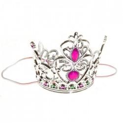 Корона принцессы серебряная с рубинами 9х25см