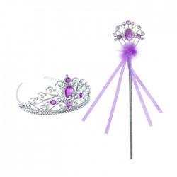 """Карнавальный набор """"Принцесса"""" 2 предмета: корона, жезл с камнями, цвет фиолетовый"""