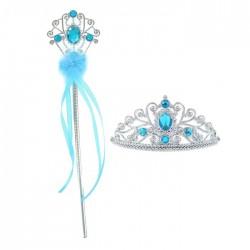 """Карнавальный набор """"Принцесса"""" 2 предмета: корона, жезл с камнями, цвет голубой 3053493"""