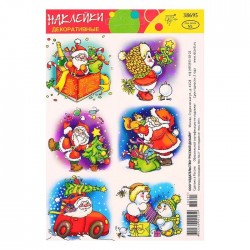 """Декоративные наклейки """"Новогодние"""", Дед мороз и снеговики 3837736"""