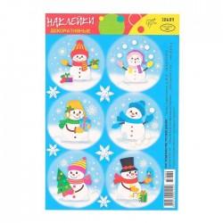 """Декоративные наклейки """"Новогодние"""", снеговик 3837730"""