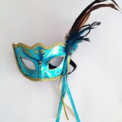 Маска венецианская голубая Карнавал с перьями