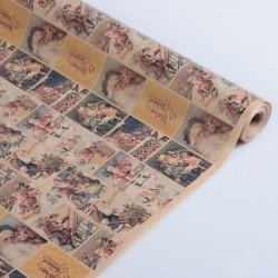 Бумага упаковочная крафт Открытки с дедом морозом 0,84х10м