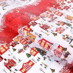 Бумага упаковочная глянцевая А в городе зима 70х100см