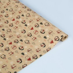 """Бумага упаковочная крафт """"Пингвины"""", 0.6 х 10 м 3806814"""