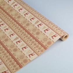 """Бумага упаковочная крафт """"Скандинавские олени"""", бело-коричневая, 0.6 х 10 м 2823194"""