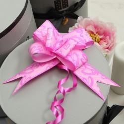 Бант-бабочка розовый голография с рисунком 50см