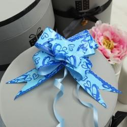 Бант-бабочка голубой голография с рисунком 50см