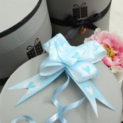 Бант-бабочка бело-голубой голография с рисунком 50см
