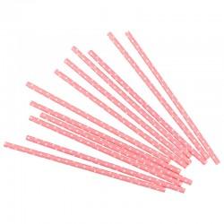Трубочки для коктейлей, розовые в белую точку, 12шт