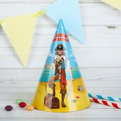 Бумажные колпаки С днём рождения! Пират 18см