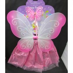 Карнавальный набор бело-розовый: Крылья,юбка,ободок,палочка