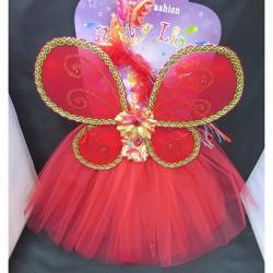 Карнавальный набор красный: крылья,юбка,ободок,палочка