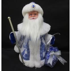Дед Мороз музыкальный голубой 30см