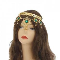 Ободок для восточных танцев Цветочки с камнями золотой 12×13см