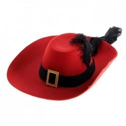 Карнавальная шляпа красная с пером 40х35см