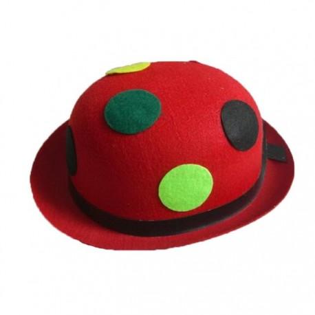"""Шляпа """"Котелок"""" красная в разноцветный горох (Китай)"""