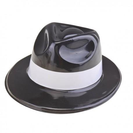 Шляпа пластиковая черная белый кант 31x27см