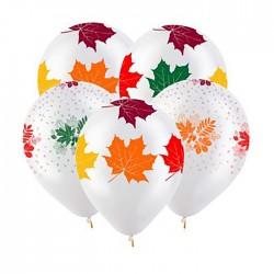 Т 12 Осенние листья Разноцветные, Прозрачный Кристал 5 ст. / 100 шт. / (Турция)