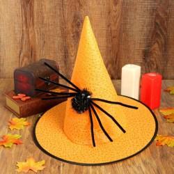 """Карнавальная шляпа """"Конус"""" с пауком, цвет оранжевый 2266424"""