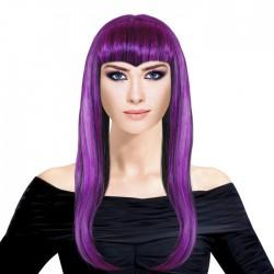 Парик Длинные волосы Микс Черно-фиолетовый