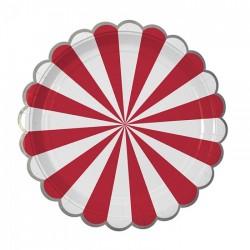 """Тарелки 18 см """"Полоски"""" Красные / набор 6 шт. / (Китай)"""