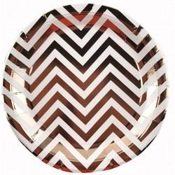 Набор тарелок Зигзаг розовое золото 18см 6шт