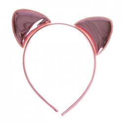 Карнавальный ободок Кошка розовое золото 18х14см