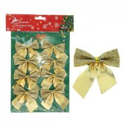 украшение новогоднее бантик (набор 8 шт) 4,5*5,5 см двойной золотой 1113627