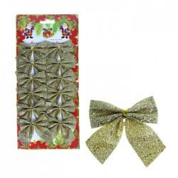 украшение новогоднее бантик (набор 12 шт) 4,5*5,5 см золотой перелив 1113626