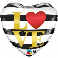 Шар LOVE черно-белые полосы 48см