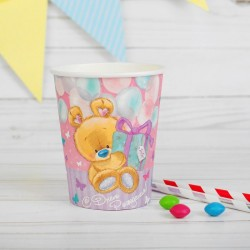 Набор стаканов С Днем рождения мишутка с подарком 10шт