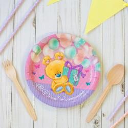 Набор тарелок С Днем рождения мишутка с подарком 18см 10шт