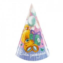 """Колпак бумажный """"С Днем Рождения""""мишка с подарком (набор 6 шт) 1675728"""