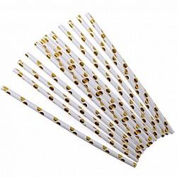 Трубочки для коктейлей, Золотые точки, 12шт