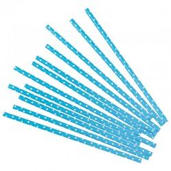 Трубочки для коктейлей, голубые в белую точку, 12шт