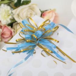 Бант-бабочка голубой и золотой 2,5х44см