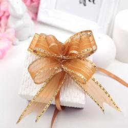 Бант-бабочка органза оранжево-золотые полосы 2,7см