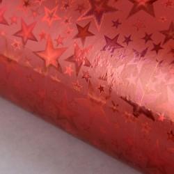 Пленка голография Звёзды на красном 50х70см