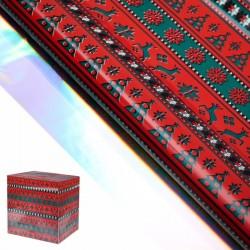 Пленка Северные олени красная металлизированная 50х70см