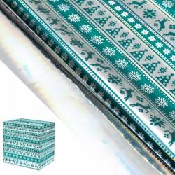 Пленка Северные олени зеленая металлизированная 50х70см