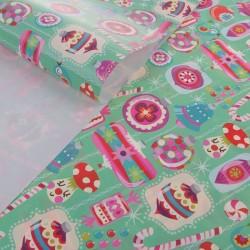 Бумага Новогодние игрушки глянцевая 50х70см