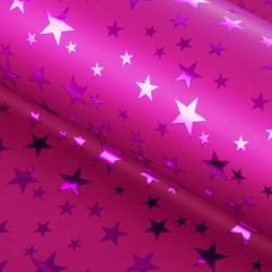 Пленка голографическая Звёзды на розовом 70х100м
