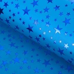 Пленка голографическая синяя Звёзды 70см х1м