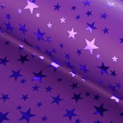 Пленка голографическая Звёзды сиреневая 70х100см